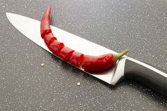 Sliced red chili pepper Stock Image