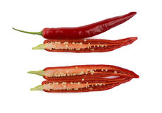 Sliced red chili peppers Stock Photos
