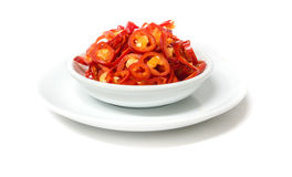Sliced Red Chili on White Background Royalty Free Stock Image