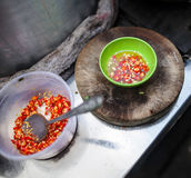 Sliced red chilli peppers Royalty Free Stock Photos