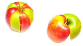 Sliced of red and green apple Royalty Free Stock Image