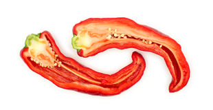 Sliced red hot chili pepper with inside seeds Royalty Free Stock Image