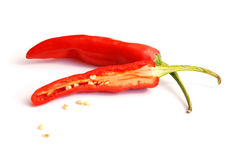 Sliced red hot chilli pepper Stock Photography