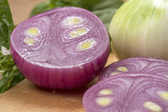 Sliced red onion closeup Royalty Free Stock Photos