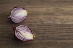 Sliced red onion halves Royalty Free Stock Photo