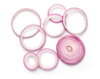 Sliced Red Onion Rings Isolated on White Background Stock Photo