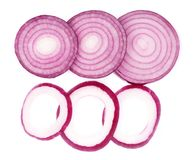 Sliced red onion rings isolated on white background. Top view Stock Photography
