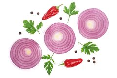 Sliced red onion rings with parsley leaves, hot pepper and peppercorns  on white background. Top view.  Royalty Free Stock Photography