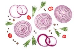 Sliced red onion rings with rosemary and peppercorns isolated on white background. Top view. Flat lay pattern.  Royalty Free Stock Photo