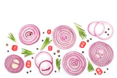Sliced red onion with rosemary and peppercorns isolated on white background with copy space for your text. Top view. Sliced red onion rings with rosemary and stock photos
