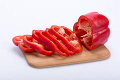 Sliced red peppe Stock Photos