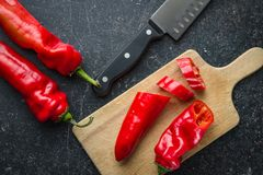 Sliced red pepper. Sliced red pepper on cutting board Royalty Free Stock Photography