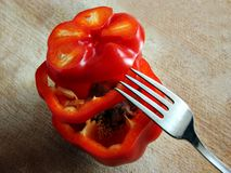 Sliced red pepper with mould inside Stock Photography