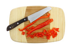 Sliced Red Peppers Cutting Board Stock Photo