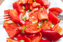 Sliced red peppers Stock Photo