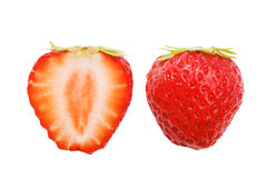 Sliced red ripe strawberrie isolated on white Royalty Free Stock Photos