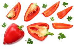 Sliced red sweet bell pepper isolated on white background. top view stock photography