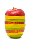 Sliced red, yellow and green apples Stock Image