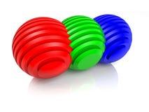 Sliced RGB balls Stock Photos