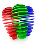 Sliced RGB balls Royalty Free Stock Images