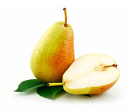 Sliced Ripe Green Pear Isolated On White Royalty Free Stock Image