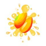 Sliced ripe mango juice splashing, colorful fresh juicy fruit  Illustration Royalty Free Stock Images