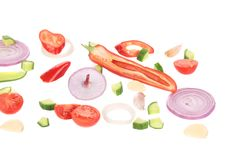 Sliced ripe vegetables. Royalty Free Stock Photos