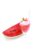 Sliced ripe watermelon fruit  on white background. Stock Photo