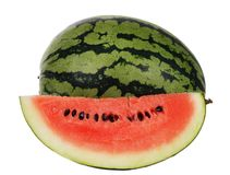 Sliced ripe watermelon isolated Stock Photo