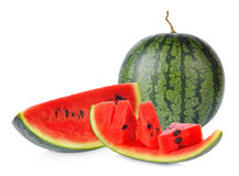 Sliced ripe watermelon isolated on white background cutout Royalty Free Stock Photos