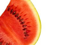 Sliced ripe watermelon. Isolated on white background cutout stock photo
