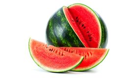 Sliced ripe watermelon isolated on white background cutout.  stock image