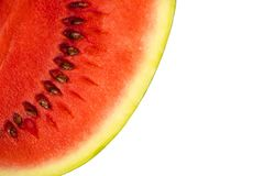 Sliced ripe watermelon isolated on white background cutout. Sliced ripe watermelon isolated on white background royalty free stock photos