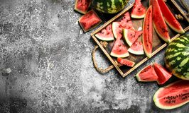 Sliced ripe watermelon on a wooden tray. Royalty Free Stock Images