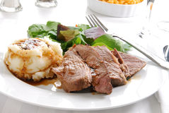Sliced roast beef dinner Stock Photos