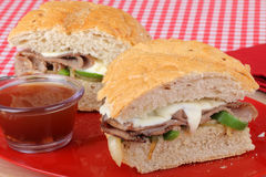 Sliced Roast Beef Sandwich Royalty Free Stock Photography