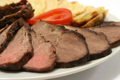 Sliced roast meat and potatoes Stock Image