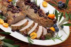 Sliced Roast Pork Tenderloin Stock Images