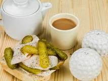 Sliced Roast Turkey With Gherkin Pickles Open Sandwich. Against a Natural Wooden Background stock photos