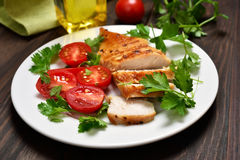 Sliced roasted chicken breast Royalty Free Stock Images