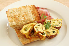 Sliced Rolled Omelette Royalty Free Stock Images