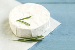 Sliced round camembert cheese traditional milk creamy dairy product with rosemary Stock Photo