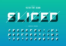 Sliced round font and alphabet vector, Design typeface letter and number, Graphic text on background. Sliced round font and alphabet vector, Design typeface stock illustration