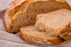 Sliced rustic rye-wheat bread Royalty Free Stock Photo