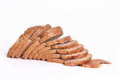 Sliced rye bread. Slices dutch rye bread with seeds royalty free stock photos