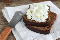 Sliced rye bread with cottage cheese Stock Image