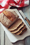 Sliced rye bread. On cutting board closeup Stock Photography