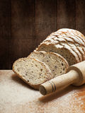 Sliced rye bread with linseed Stock Photos