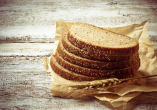 Sliced rye bread with sesame seeds Royalty Free Stock Image