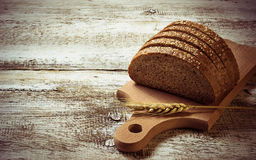 Sliced rye bread with sesame seeds Royalty Free Stock Photos